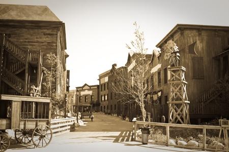 loin: Photo r�tro de la ville de Far west Banque d'images