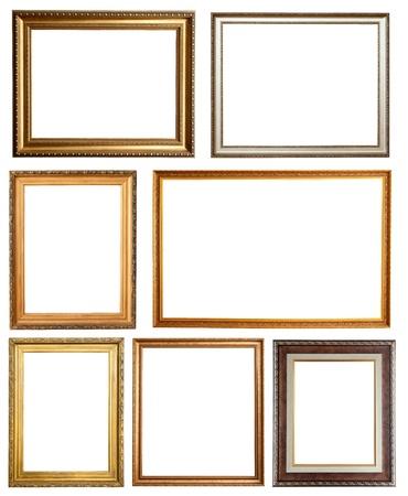 ornate gold frame: Conjunto de 7 marcos. Aisladas sobre fondo blanco con trazado de recorte