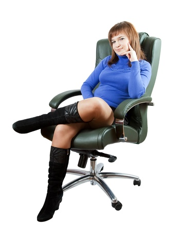 elbow chair: Businesswoman  sitting on chair. Isolated on white background