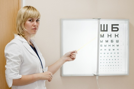 eyesight: ophthalmologist testing  eyesight with letter table Stock Photo