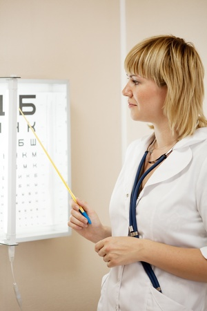 ophthalmologist testing  eyesight with letter table Stock Photo - 9855060