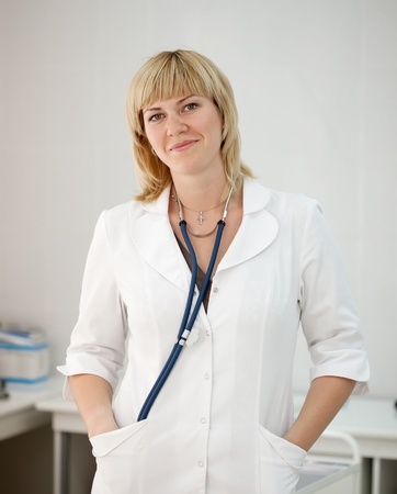 Portrait of female doctor in hospital interiorPortrait of female doctor in hospital interior Stock Photo - 9855058