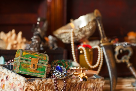 Closeup of Treasure chests with jewellery. Shallow DOF photo