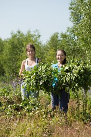 Two women making birch besom for russian sauna Stock Photo - 9977087