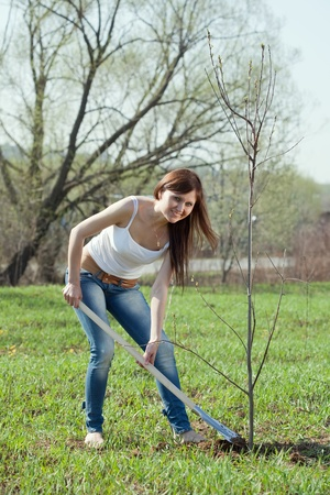garth: middle age woman planting tree outdoor