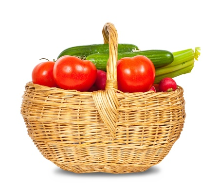 Ripe vegetables in basket on white background Stock Photo - 10132438