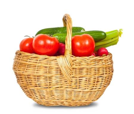 vegetable basket: Ripe vegetables in basket on white background