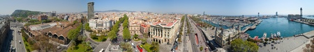 Panorama  of Barcelona from Columbus statue. Spain photo