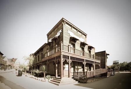 Retro photo of Wild west town   Stock Photo