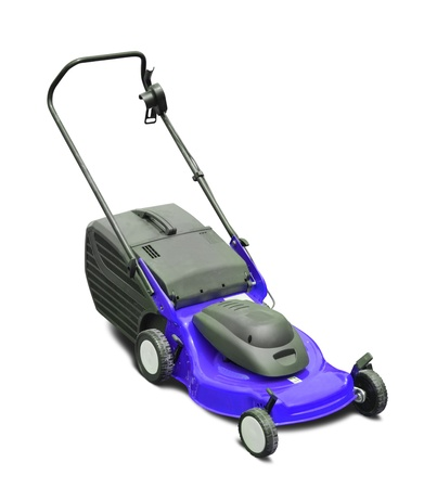 Blue lawn mower. Isolated over white background photo