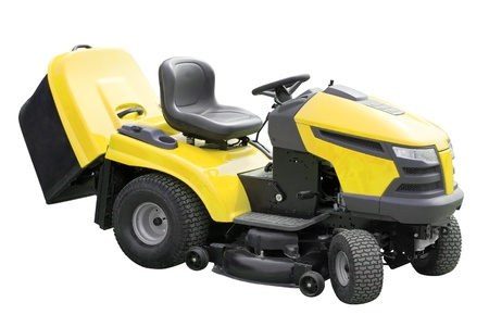 yellow lawnmower. Isolated over white  with clipping path photo