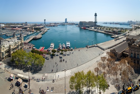 the ramblas: Top view of Barcelona from Columbus statue. Spain Stock Photo