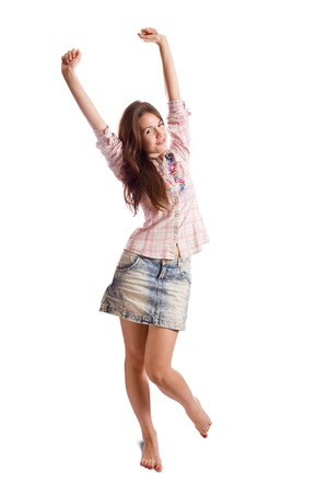 barefoot teens:  casually dressed  happy girl. Isolated over white