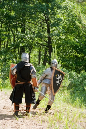 duelling: Two knights in armor fights in forest