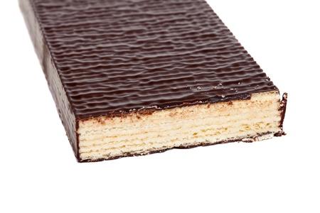 to cake layer: waffle strato di torta. Isolato su sfondo bianco