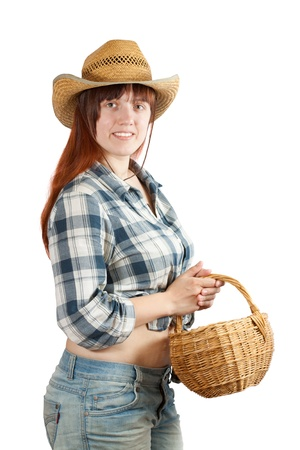 pastoral: Happy pastoral  woman with basket over white