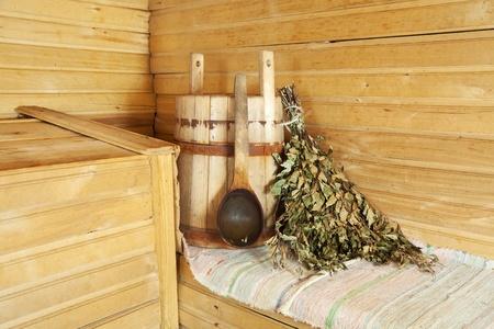 sauna: Interior of sauna with wooden bench