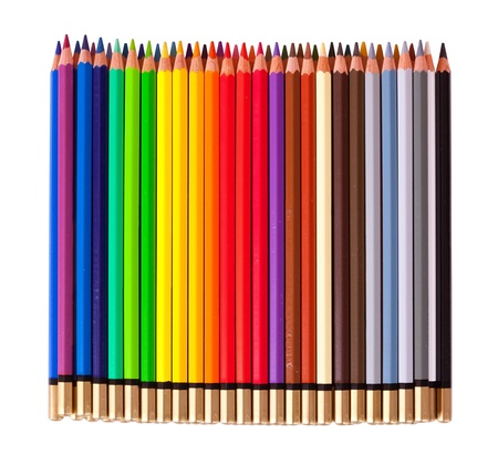 Many pencils, isolated over white background photo