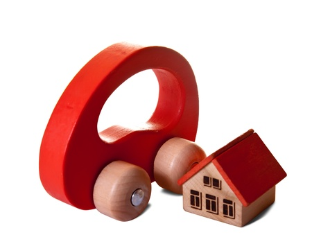 Wooden  toy house and car on white background Stock Photo - 10412266