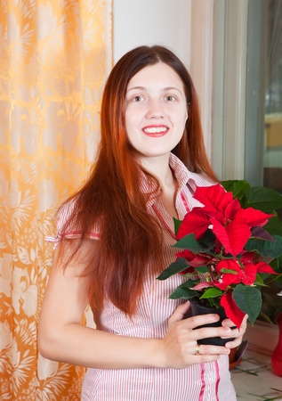 Young woman with Poinsettia flowers in flowering pot  at her home photo