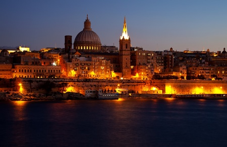 View of Malta. Old Valletta in night photo