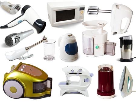 uso domestico: Set di elettrodomestici. Isolato su sfondo bianco