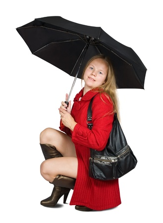 Girl in red coat and brown high shoes with umbrella