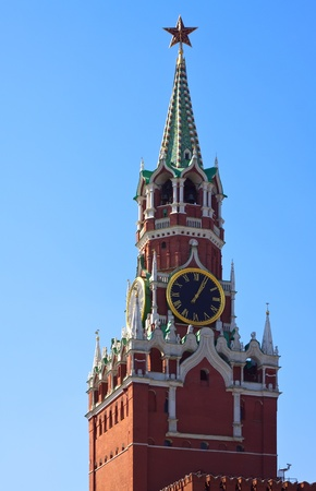 clock tower: Clock tower in Moscow Kremlin. Moscow, Russia  Stock Photo