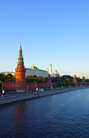 moskva river: View of Moscow Kremlin in sunset