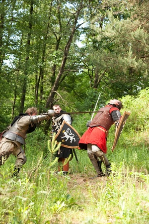 duelling: knights in armor is fighting  at forest