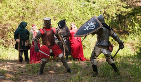 Two knights in armor is fighting  against  audience  photo