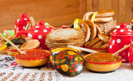 Pancake with red caviar and tea during  Shrovetide Stock Photo - 10460204