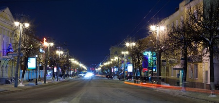 Night view of wintry street of  European town  (Vladimir, Russia) photo