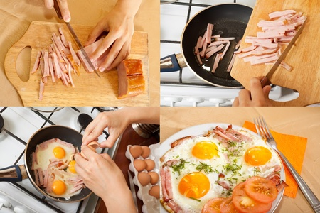 stages of cooking fried bacon and eggs at home photo