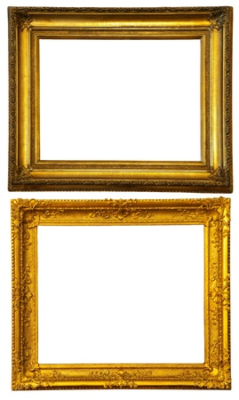 Two gold frames. Isolated over white background with clipping path photo