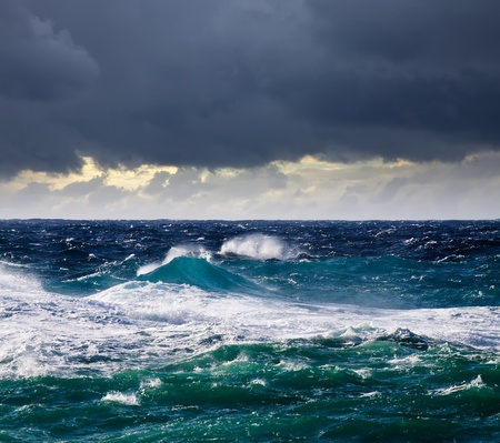 breaking wave: High sea wave during storm at  Mediterranean area Stock Photo
