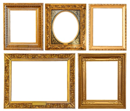 Set of few gold picture frames. Isolated over white background with clipping path photo