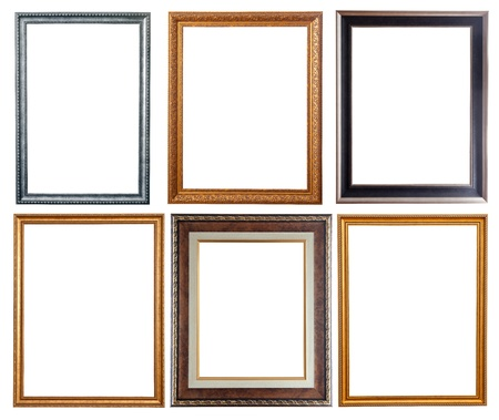 antique frame: Set of few picture frames. Isolated over white background.