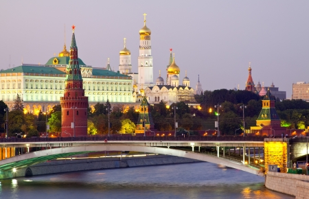 moscow churches: View of Moscow Kremlin in dusk. Russia