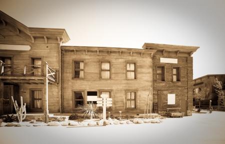 lejos: Foto retro del Lejano oeste de la ciudad