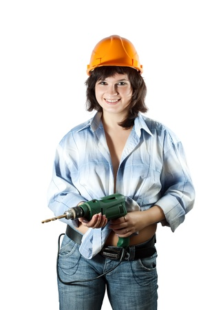 beauty girl with drill over white background photo