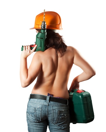 Topless girl in hardhat with tool box  and drill over white photo