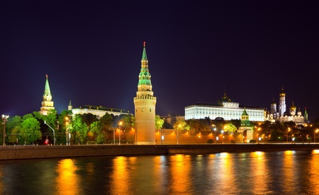 View of Moscow Kremlin in night. Russia photo