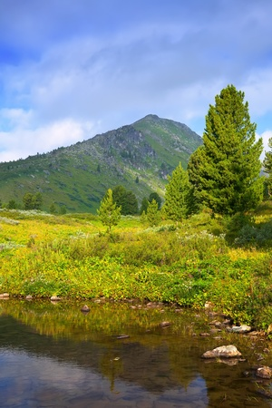 vertical landscape with mountains lake.   Altai, Suberia