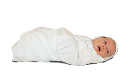 1 month  baby in diaper over white background Stock Photo - 10612833