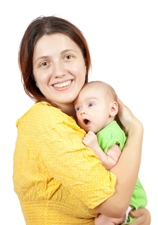 mother with her baby. Isolated over white background photo