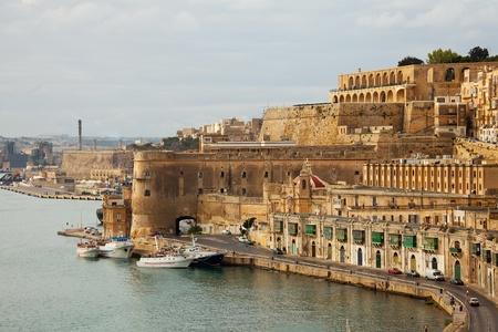 malta: View of Valletta with Barrakka Gardens, Malta Stock Photo