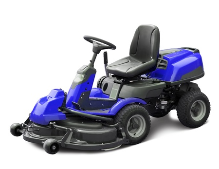mower: Blue lawn mower. Isolated  Stock Photo