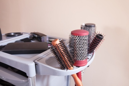 hairdresser tools in hair salon photo