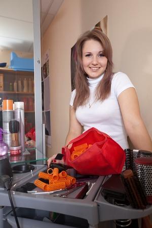 Happy hairdresser in hair salon Stock Photo - 10677724